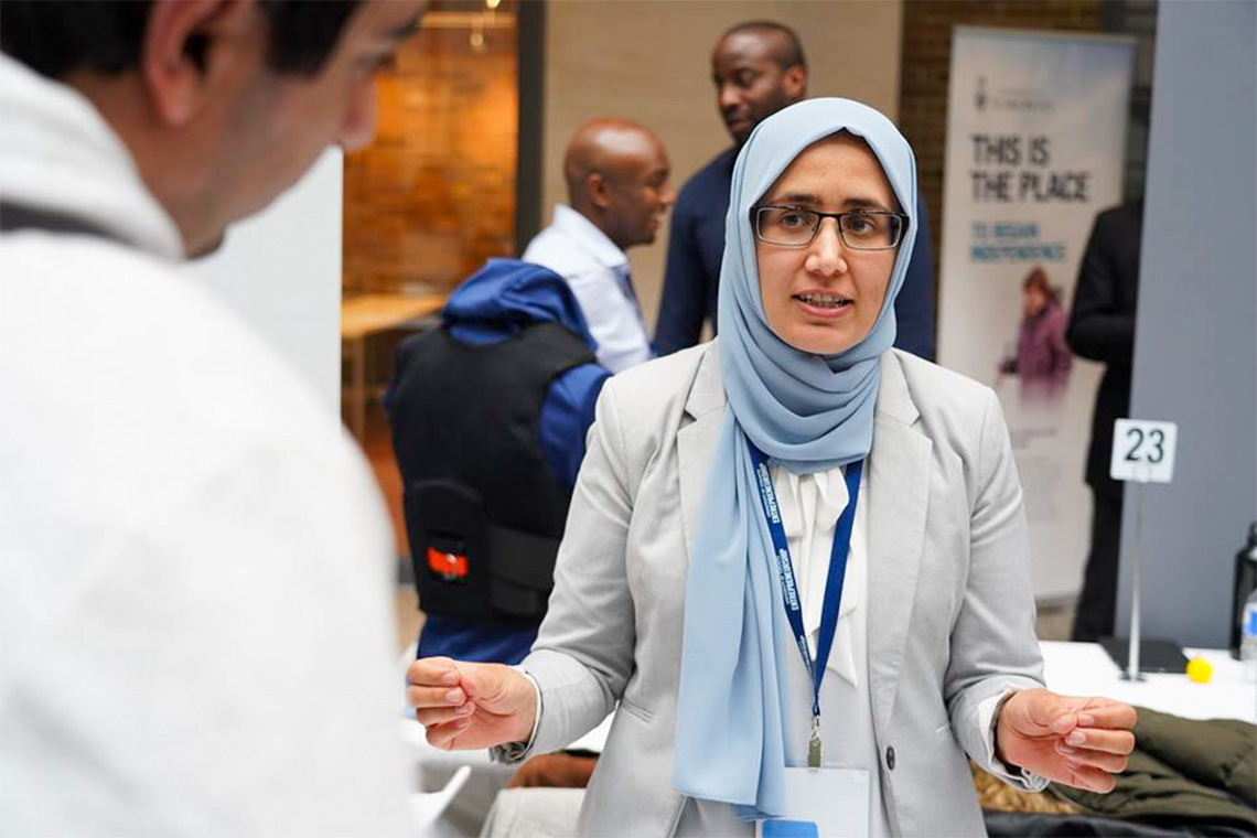 Diva Turial, who recently won the Falling Walls Toronto Pitch Competition, fields questions about her start-up, Lead with Dignity, at the True Blue Expo earlier this year