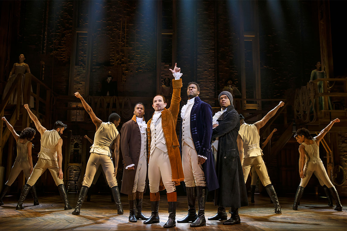 The cast of Hamilton on stage
