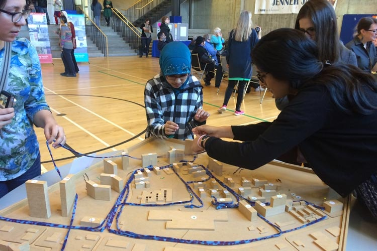 People look at scale models of Thorncliffe Park redevelopment plans (all photos by Aseem Inam)