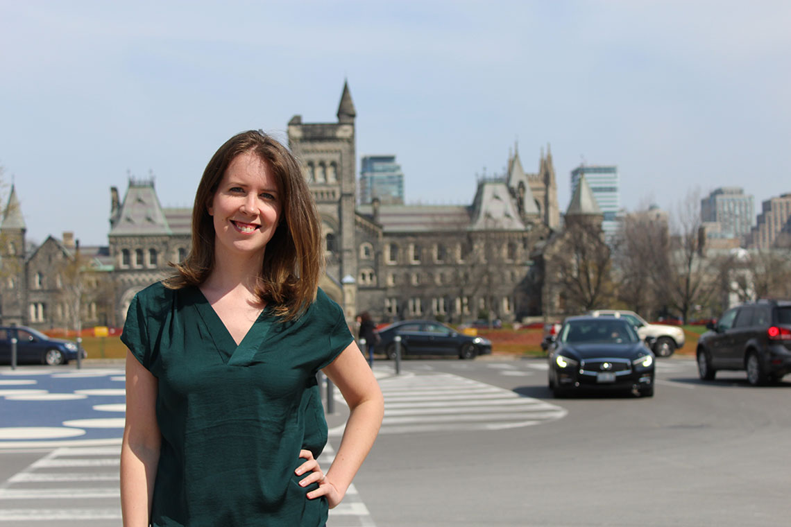 Photo of Katie Fraser posing in front of King's College Circle