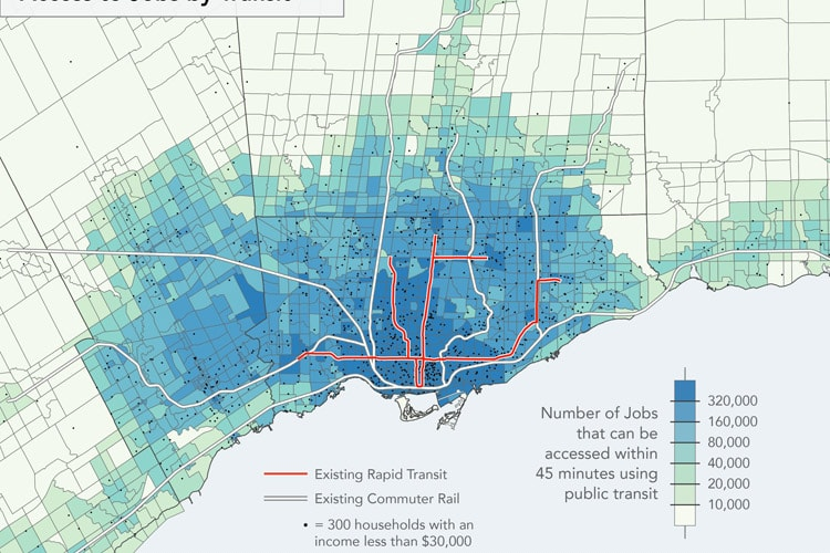 This map shows the number of jobs reachable by public transit within a 45 minute trip from each neighbourhood in the GTA.