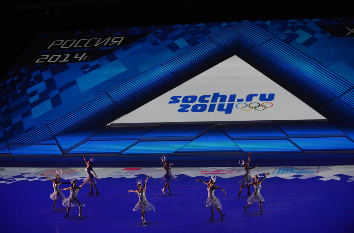 Performers at a ceremony marking one year until the 2014 Winter Olympics