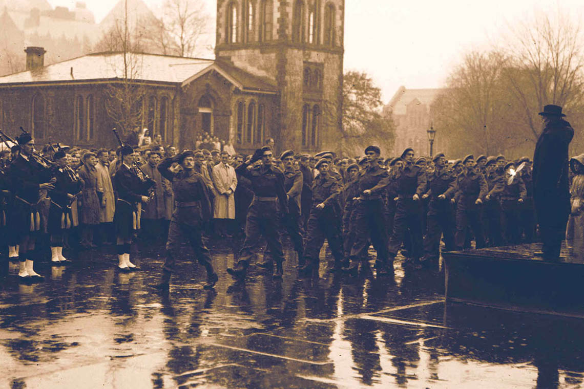 The University's Remembrance Day Service outside of Hart House in 1947