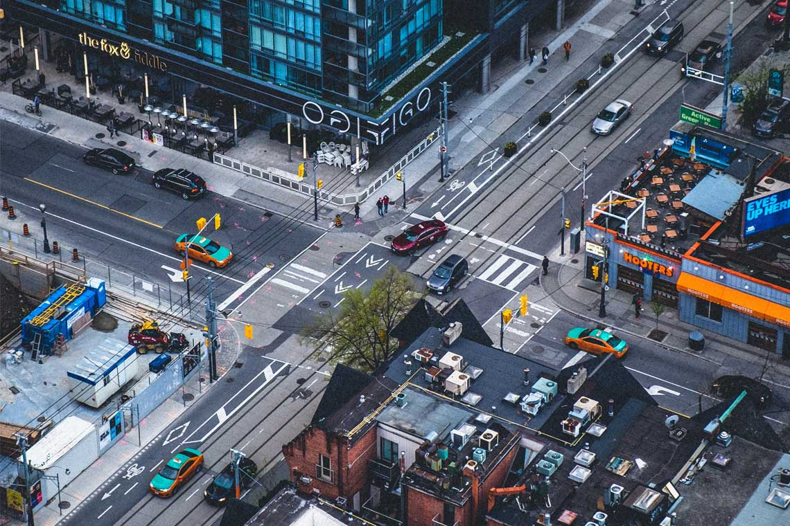 Photo of intersection in downtown Toronto