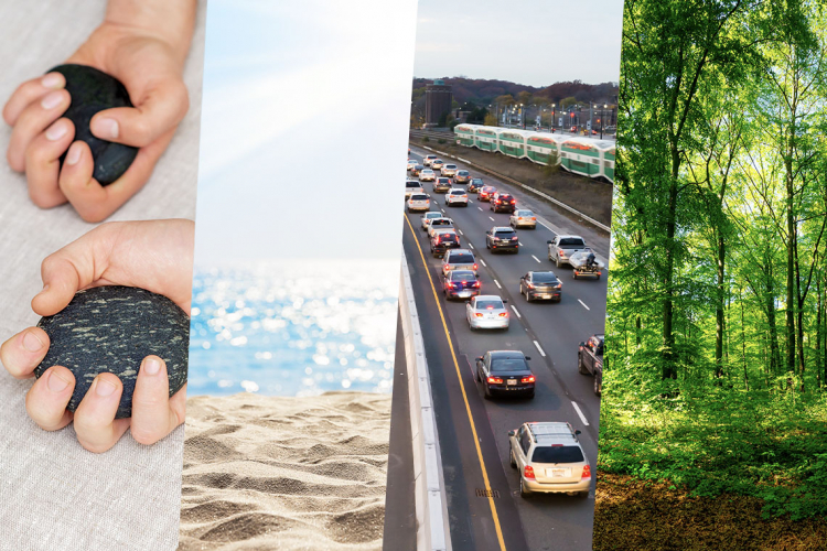 A composite image of hands holding stone, a sunny beach, traffic on the gardiner expressway in toronto with go train visible and a forest