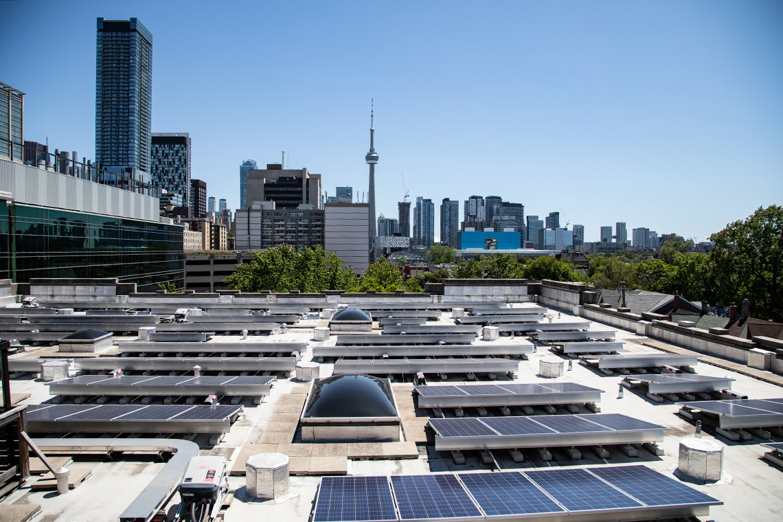 solar panels seen on the roof of the exam centre at the University of Toronto, St. George Campus