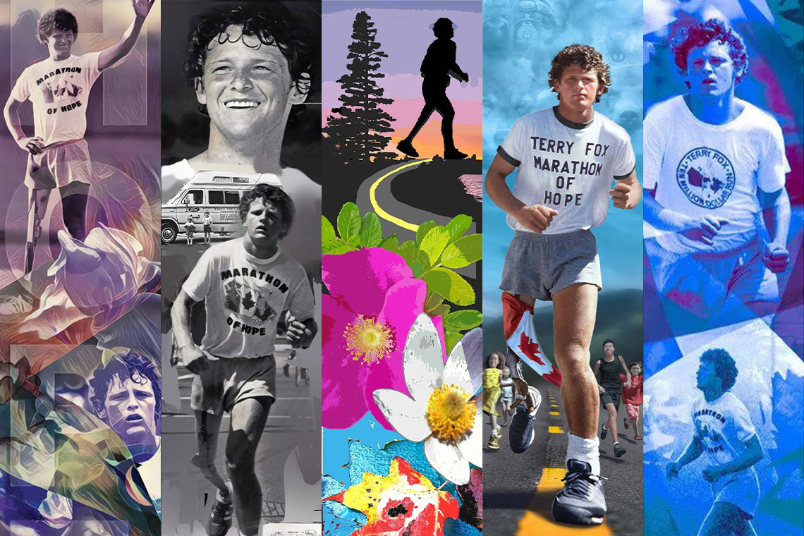 collage showing the five different proposed terry fox murals