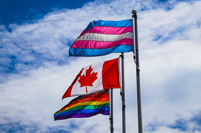 Trans flag, Canada flag, and LGBTQ flag flown at the University of Toronto, St. George campus