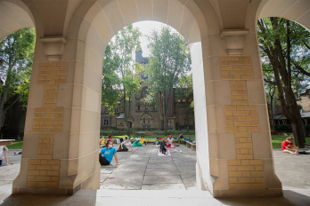 Students doing yoga on the St. George campus of the University of Toronto