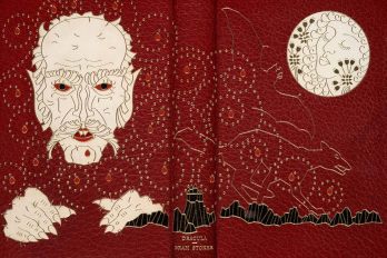 Photo of book binding for first edition of Dracula