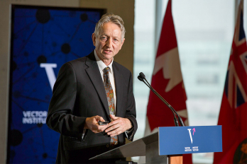 Geoffrey Hinton delivering a speech at the Vector Institute