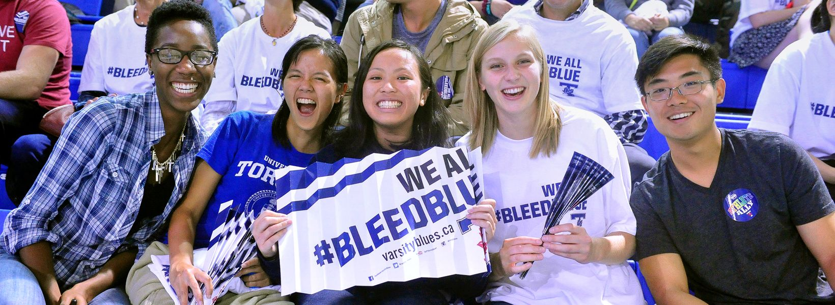 varsity blues fans at a sporting event